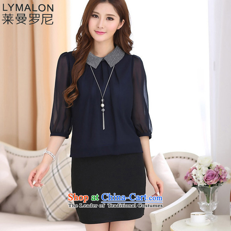 The lymalon lehmann thick, Hin thin Fall 2015 for women Korean style, large cuff leave two chiffon dresses 7032 blue clothes black skirt燲XL