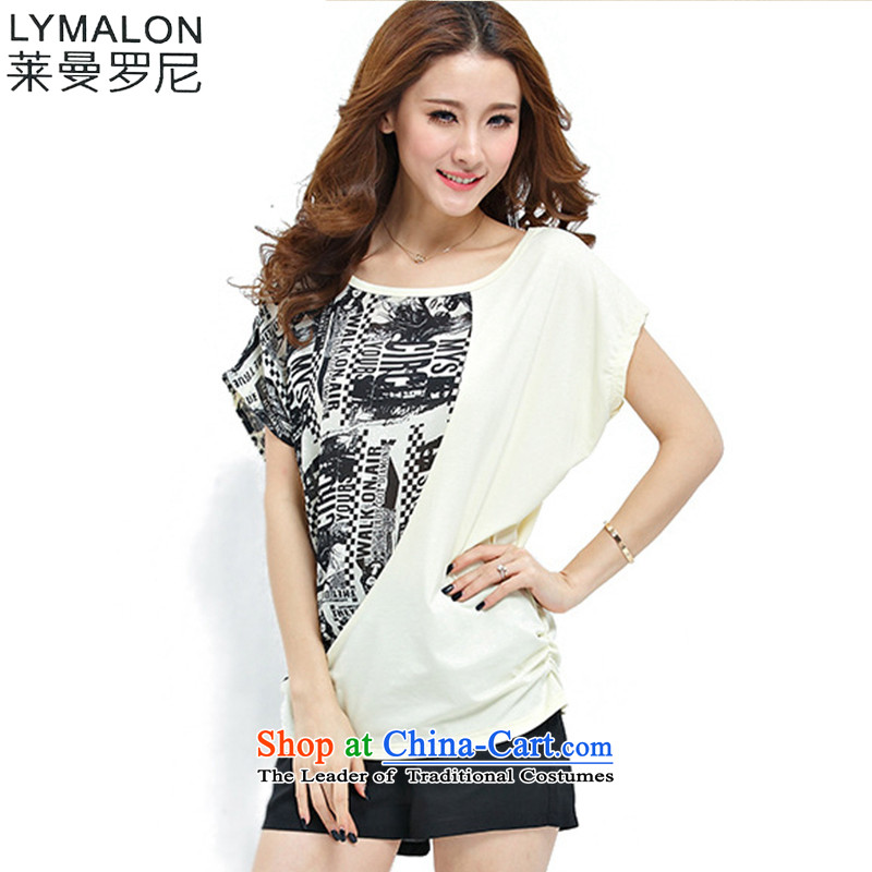 The lymalon Lehmann Summer 2015 new product expertise, Hin thin large female chiffon knitted T-shirt two Kit 1096 Light Yellow�L