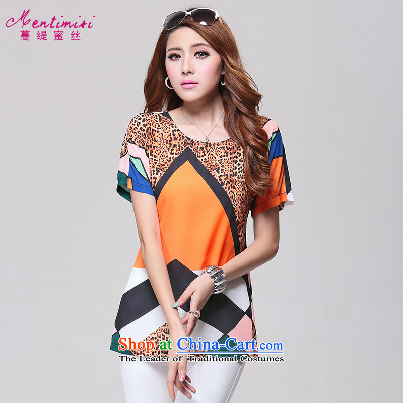 Extra-thick mm female Summer 2014 Korean version of the new trendy Leopard Pope wind short-sleeved T-shirt to intensify MS14B1635 picture color large code XL