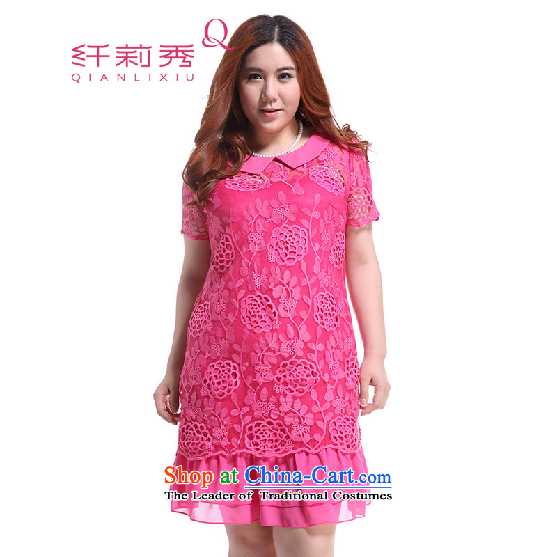 The former Yugoslavia Li Sau 2014 Summer new larger female court lapel engraving Lace Embroidery straight short-sleeved really two kits dresses in red燲XXL Q3993