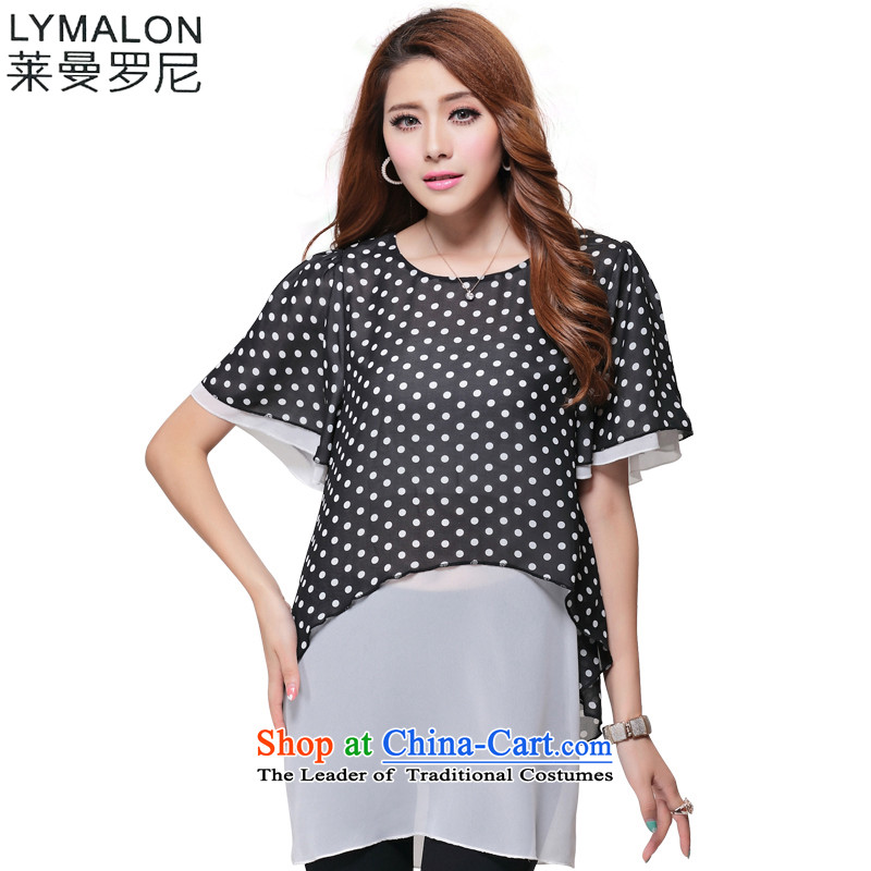 The lymalon Lehmann Summer 2015 new product expertise, Hin thin large stylish women short-sleeved T-shirt two kits�L 1633 Black
