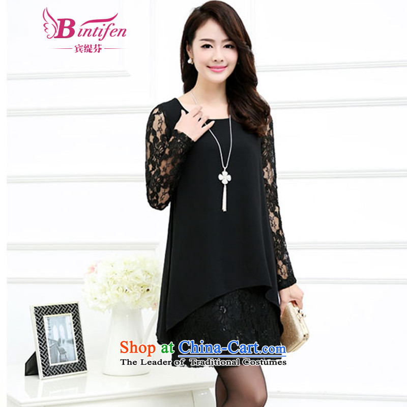 Stephen _BIN_2015 Yitzhak Rabin economy fall inside the new liberal video thin thick mm plain long-sleeved chiffon lace leave two garment female autumn and winter, 1,3498. XXXXL black