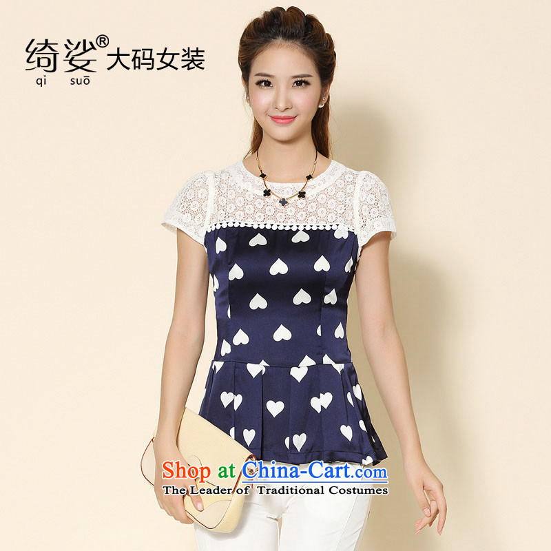 As provided for 2014 XL female thick MM summer new heart pattern thick sister video thin short-sleeved T-shirt, blue聽5XL 2113