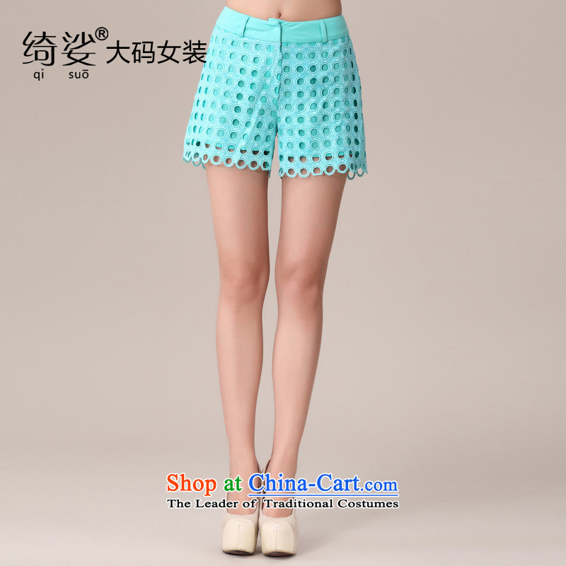 As provided for 2014 XL female thick MM summer New Wave point engraving thick sister video large thin small volume of 1980 sky blue shorts聽XL