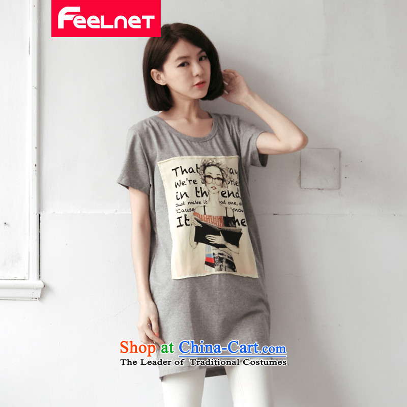 The Korean version of the summer feelnet2015 new mm thick larger female modal cotton long version of the relaxd letters short-sleeved T-shirt XL 2175 Light Gray large 4XL