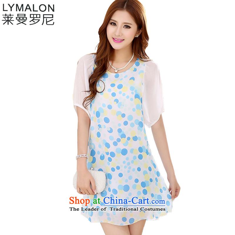 The lymalon Lehmann Summer 2015 new product expertise, Hin thin Korean version of large numbers of women with snow woven dresses 7040 blue _ yellow wave�L point
