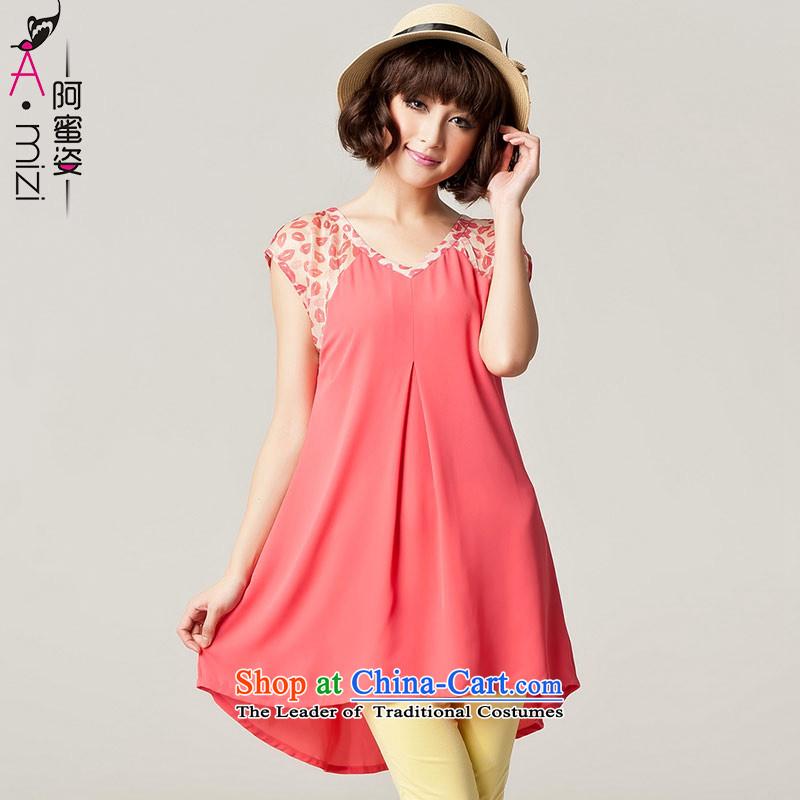 Amista Asagaya Gigi Lai Fat mm larger women's summer short-sleeved long loose video thin saika chiffon shirt dresses female 467 watermelon red聽XL