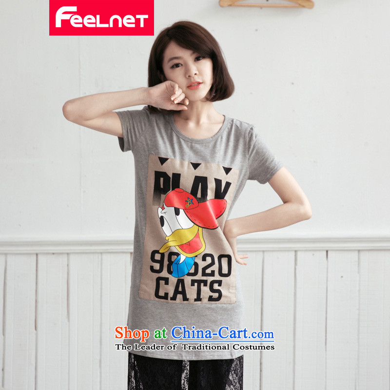 Clearance爁eelnet Korea version 2015 XL female thick mm new graphics and slender, Donald Duck letters short-sleeved T-shirt large gray�L 2178