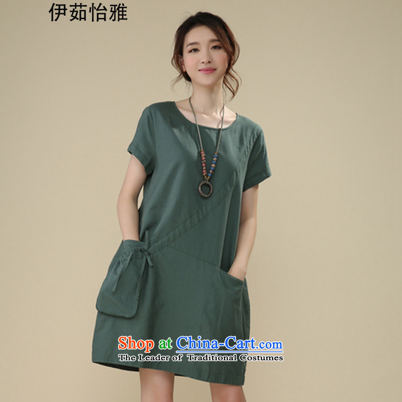 El-ju Yee Nga summer new thick sister video thin, to intensify the Korean version of the large short-sleeved blouses and cotton linen dresses RS26160 GREEN燤
