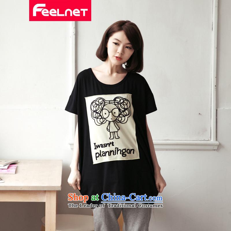 Clearance爁eelnet xl female thick mm summer new long cartoon character pattern short-sleeved T-shirt 2172 Graphics thin black�L