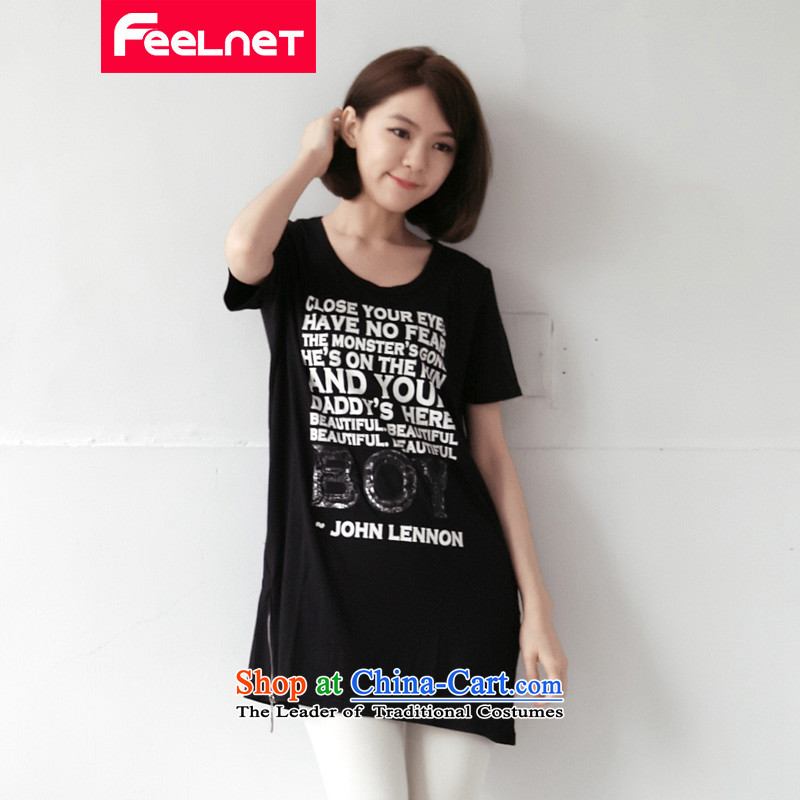 Clearance爁eelnet Korea version 2015 XL female new mm thick long loose wild letters short-sleeved T-shirt large black�L 21.8
