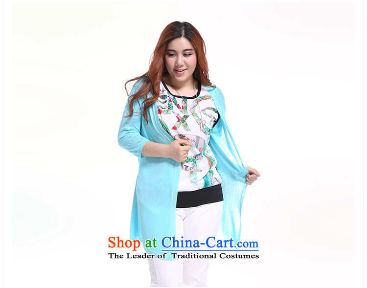The former Yugoslavia Li Sau 2014 Summer new larger female Korean wild V-Neck thin, engraving long knitting cardigan Q5081 lake blue XXL picture, prices, brand platters! The elections are supplied in the national character of distribution, so action, buy now enjoy more preferential! As soon as possible.