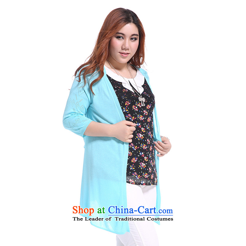 The former Yugoslavia Li Sau 2014 Summer new larger female Korean wild V-Neck thin, engraving long knitting cardigan Q5081 XXL, blue lake in the former Yugoslavia has been pressed Sau Li shopping on the Internet