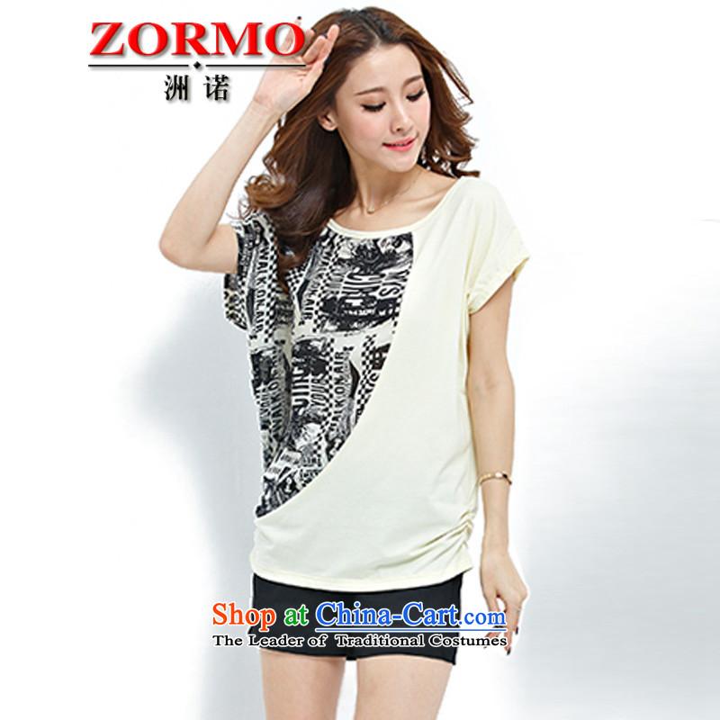 燣arge ZORMO Women 2015 Summer new campaign focusing mm to xl T-shirt + leisure wears pale yellow shorts Kit�5-130 XL catty
