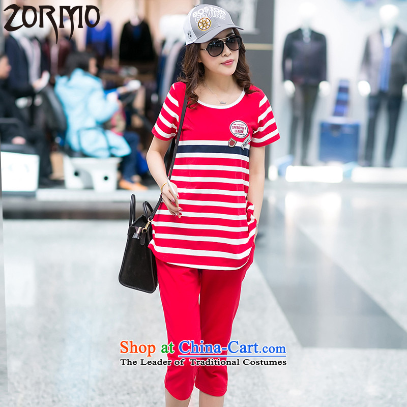 2015 Summer ZORMO new Korean ladies casual wear kit fat mm to xl t-shirt + trousers Red 2 Piece燲XL 130-145 catty