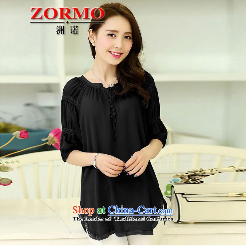 燣arge ZORMO Women 2015 Summer new fat mm to xl chiffon shirt wrinkled neck long blouses black燲XL 130-145 catty