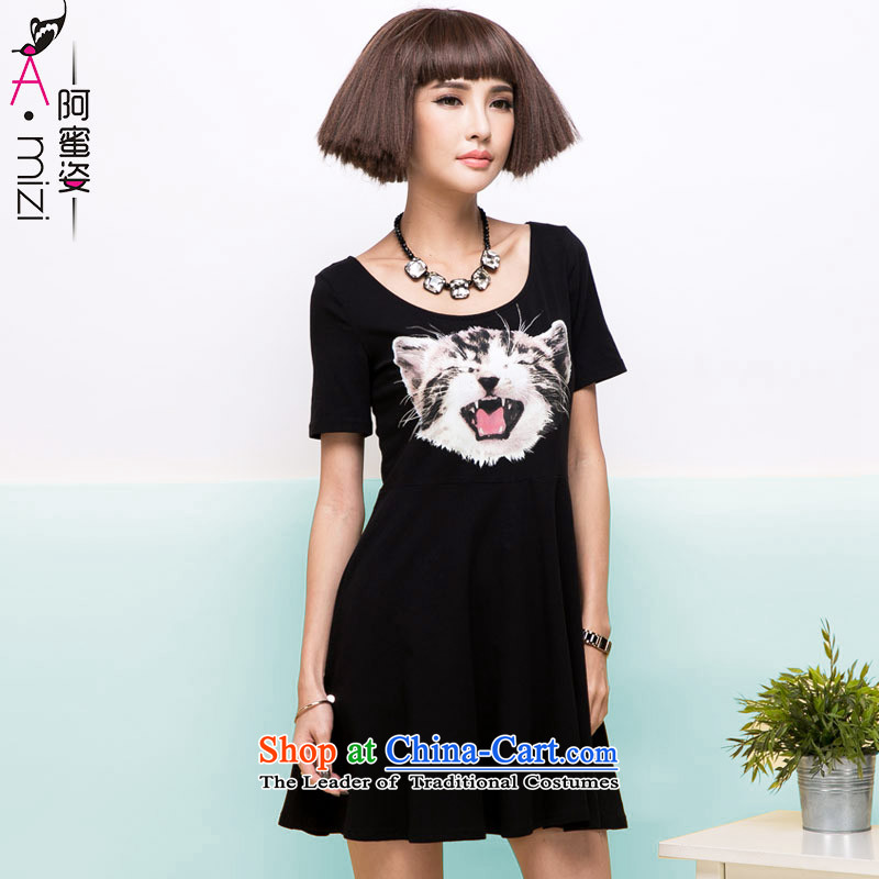Amista Asagaya Gigi Lai summer large MM thick female cats Mimi stamp round-neck collar short-sleeved black graphics thin cotton dress female燚iscontinuations_Creations 87燽lack燲XL