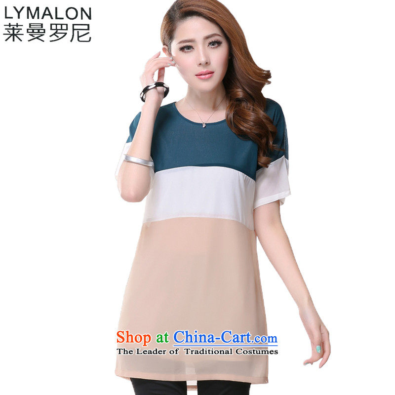 The lymalon lehmann thick, Hin thin 2015 summer edition of the new Korean women's code hypertrophy Sleek and versatile short-sleeved T-shirt chiffon colored�L 1628 picture
