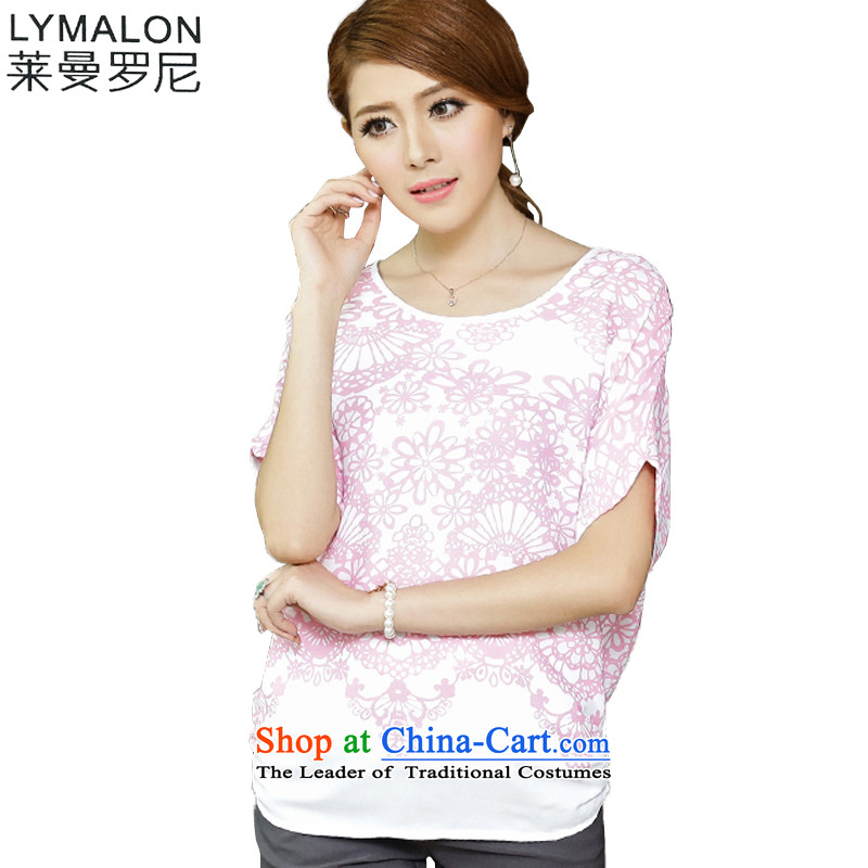 The lymalon lehmann thick, Hin thin Summer 2015 New Product Version Korea Women's extra stylish Sweet short-sleeved T-shirt chiffon colored pink shirt 1648燲L