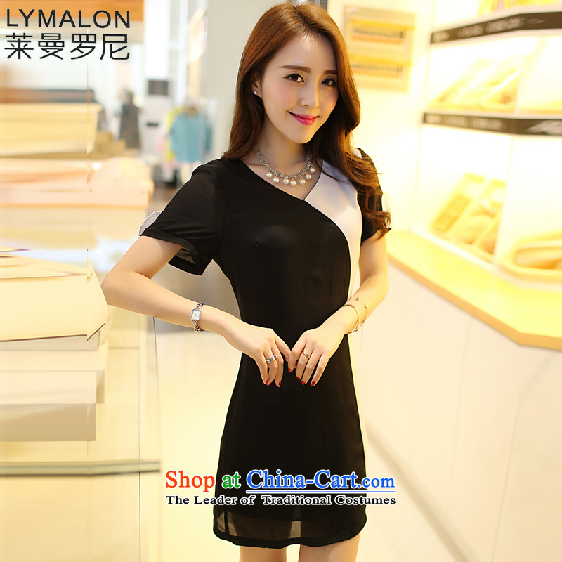 The lymalon lehmann thick, Hin thin Summer 2015 New Product Releases Korea Women's code hypertrophy short-sleeved wild chiffon dresses 2617th black and white�L