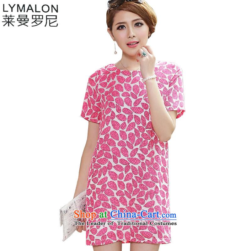 The lymalon lehmann thick, Hin thin 2015 Summer new Korean women xl Sleek and versatile short-sleeved chiffon dresses 2626 watermelon Red�L