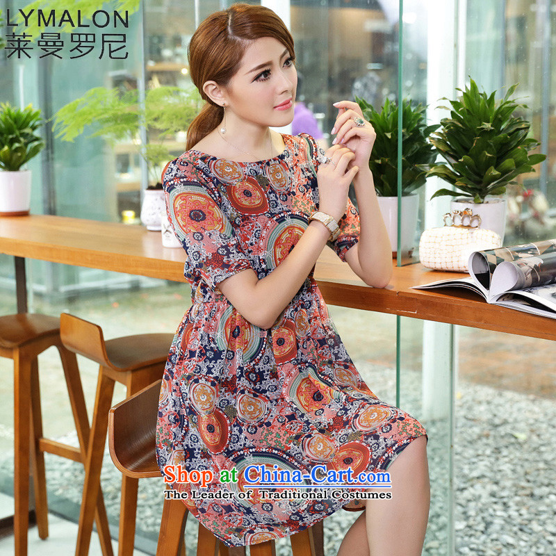 The lymalon lehmann thick, Hin thin 2015 summer edition of the new Korean women's code hypertrophy stylish short-sleeved chiffon dresses 2627 suit�L