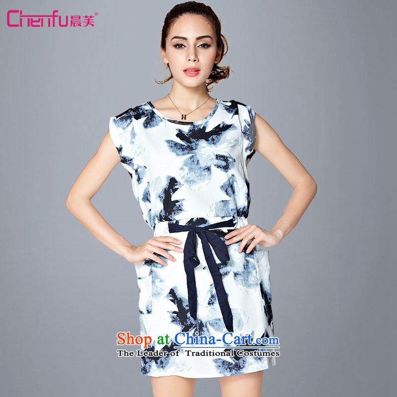 2015 summer morning to the new Europe and to increase the number of women with stamp Foutune of video thin dresses thick mm extra knocked-color printing with a blue on white flowers skirt爁or 120-135 L catties_