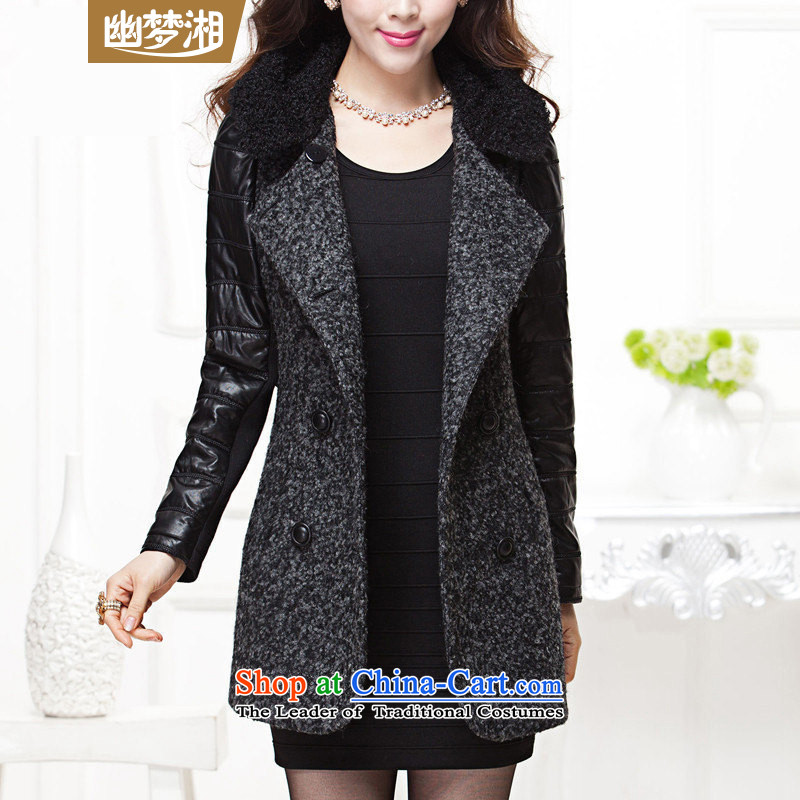 Meng Xiang ymx2015 autumn and winter female new wool coat new products? Korean Ladies casual jacket material 8931 gross??XXXL black