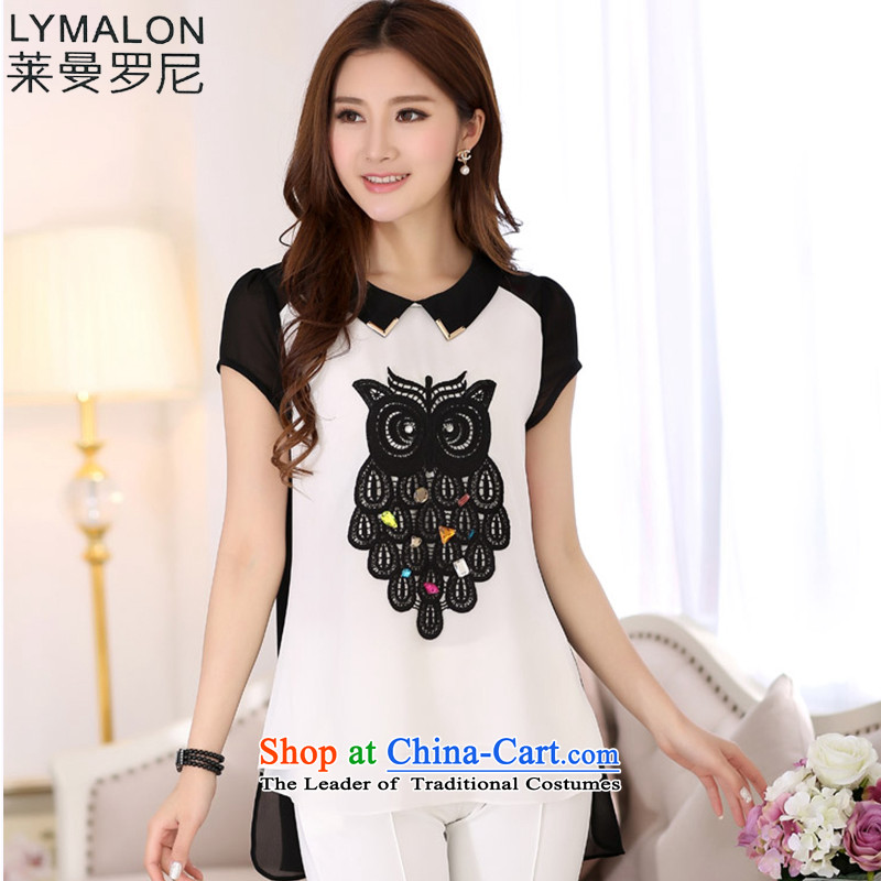The lymalon Lehmann Summer 2015 new product expertise, Hin thin Korean version of large numbers of ladies of the owl, short-sleeved T-shirt black�L 70 18