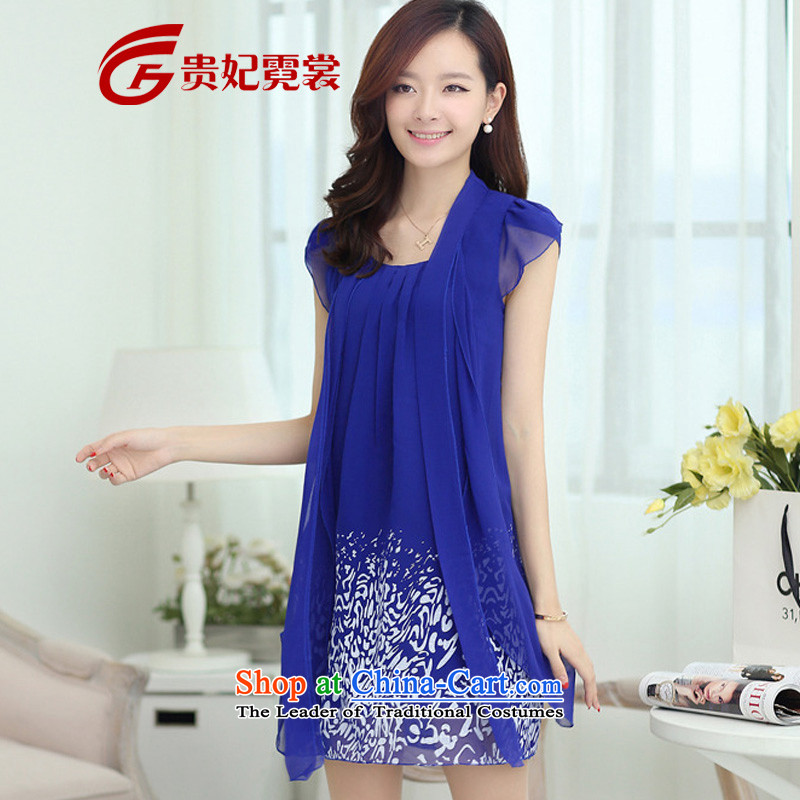 Thick mm summer new extra female candy colored dress to xl short-sleeved chiffon skirt temperament video thin dresses 311 Blue�L