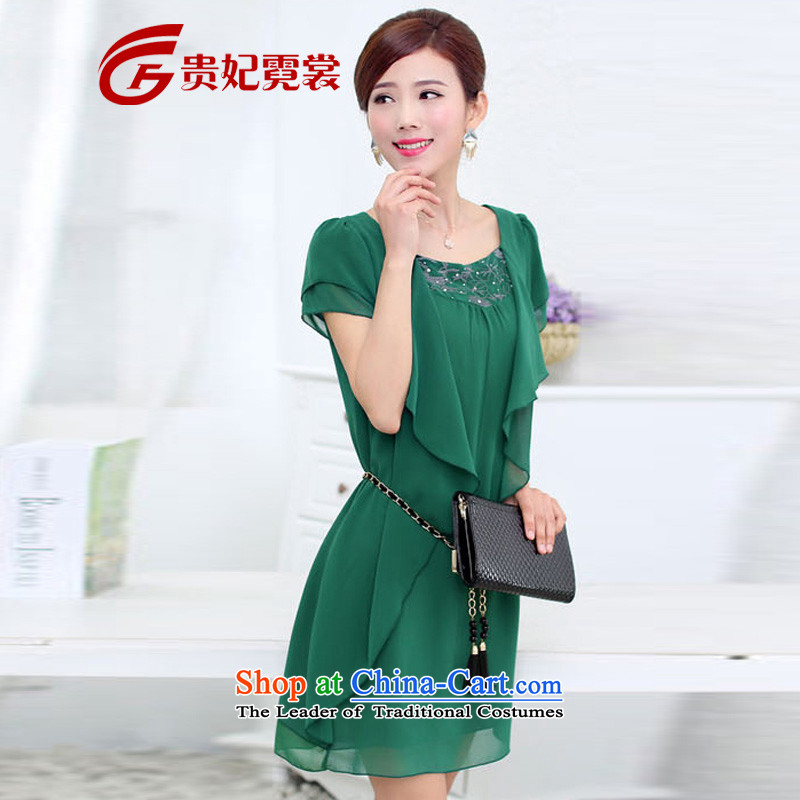 2015 mm thick summer new to xl short-sleeved blouses chiffon skirts graphics_ thick MM THIN extra summer dresses 009 green�L
