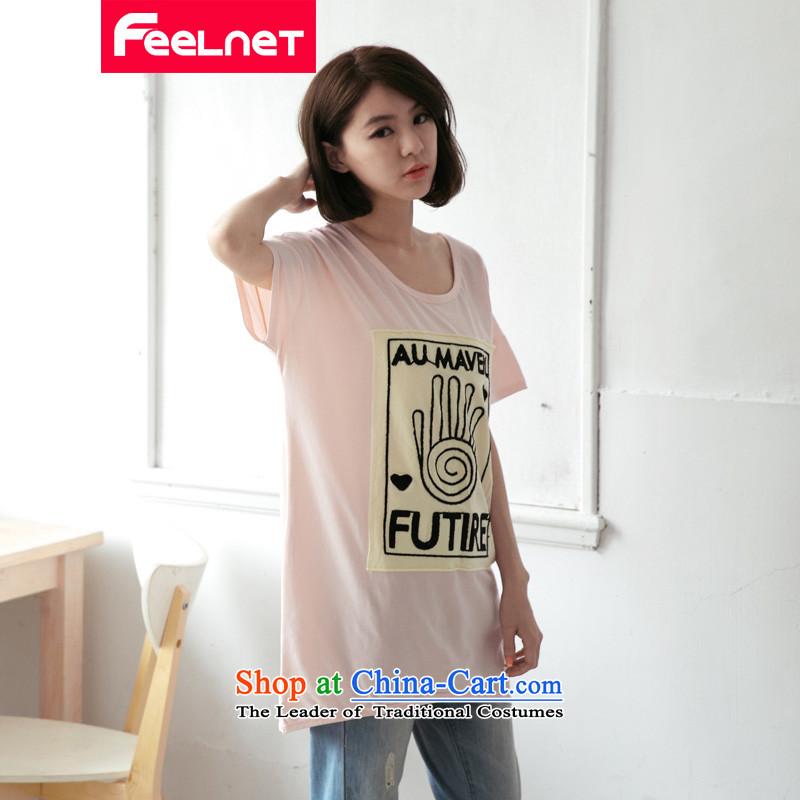Feelnet xl female thick mm summer new Korean long graphics thin fingerprints Q short-sleeved T-shirt 2174_ pink larger 4XL