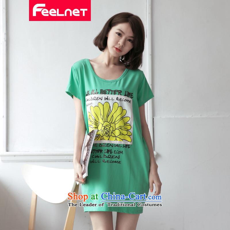 Korea 2015 XL feelnet female thick mm summer graphics, large letters and slender short-sleeved T-shirt 2176& large green larger 3XL