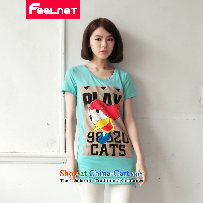The Korean version of the 2015 increase feelnet code women thick mm new summer long short-sleeved large letters Sau San code T-shirt 2178_ 5XL large blue-green