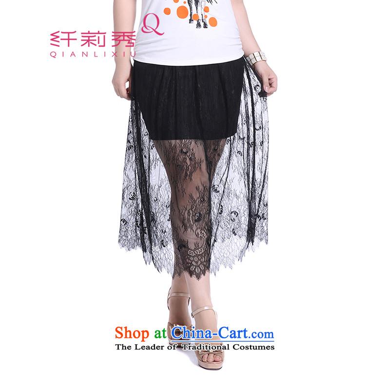 The former Yugoslavia Li Sau 2014 Summer new larger female elastic waist stitching lace leave two wild half skirt Q5086燲XXXXL black
