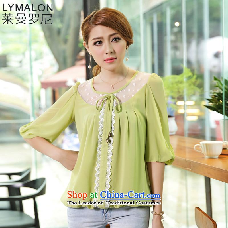 The lymalon2015 lehmann summer new product version of large Korean women's code Sleek and versatile temperament loose short-sleeved T-shirt chiffon shirt 1655 Grass green燲XXL
