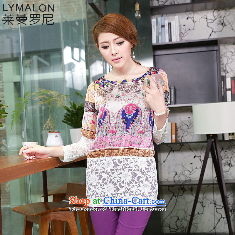 The lymalon2015 lehmann autumn new Korean version of large numbers of ethnic women stamp lace stitching long-sleeved T-shirt shirt 1657燲XXXL Suit