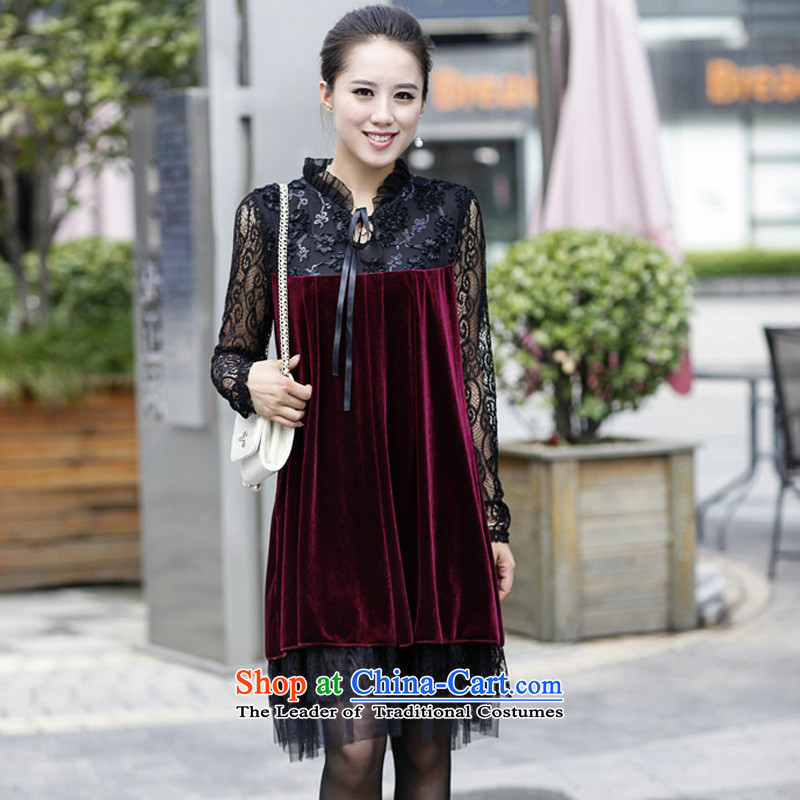 During the spring and autumn large female new MM thick gold velour lace stitching long-sleeved dresses BOURDEAUX燲L