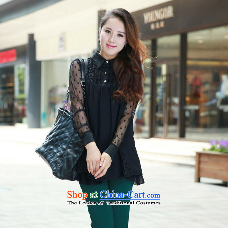The new Korean version of the spring and autumn xl female chiffon stitching long-sleeved T-shirt lapel video thin black T-shirt shirt, forming the燲L