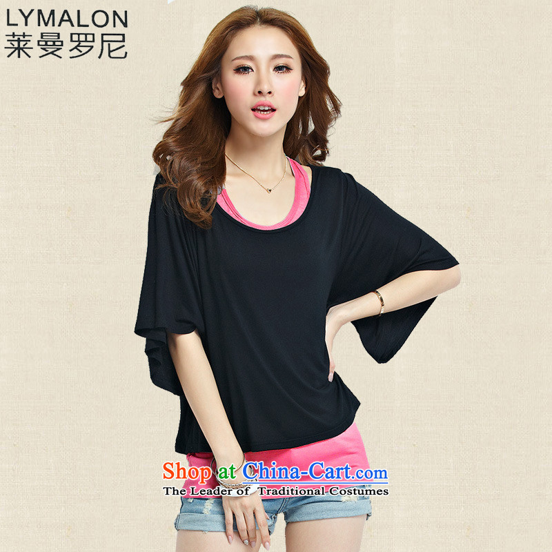 The lymalon2015 lehmann summer new Korean version of large numbers of ladies Sleek and versatile graphics thin leisure short-sleeved T-shirt two kits of red燲XXL 1107