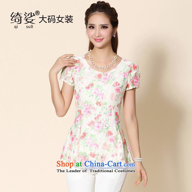 As provided for 2014 XL female thick MM summer new lace shirt thick sister thin large graphics short-sleeved T-shirt flower No. 2150 apricot 5XL