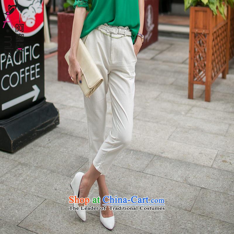 Amista Asagaya Gigi Lai Fat mm larger women's summer stylish cotton linen comfort and breathability high waist xlarge temperament of 9 women 8998 m white trousers燲L