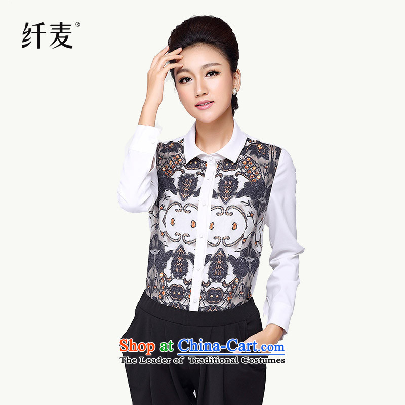 The former Yugoslavia Migdal Code women 2014 Autumn Load New Stylish retro MM thick stamp collage loose燲XXXL white long-sleeved shirt 4298