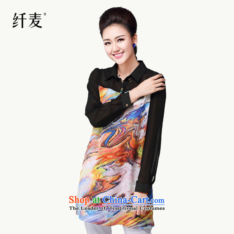 In the former Yugoslavia is indeed intensify code mecca female thick new_ Autumn mm 2015 Sau San video thin stamp long shirt female 14123 Black燤