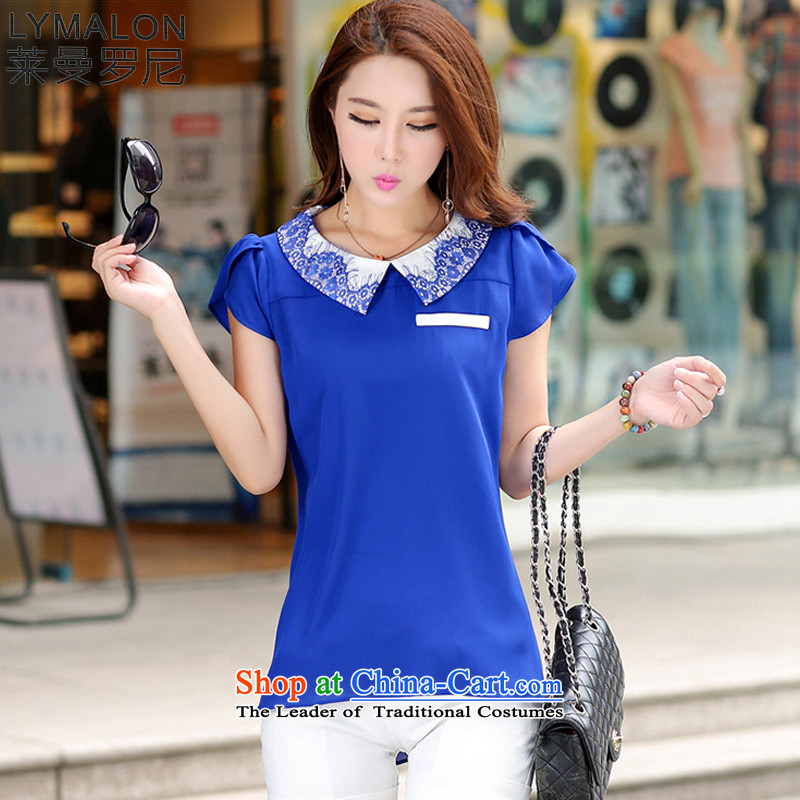 The lymalon2015 lehmann new summer stylish Korean version of large numbers of ladies fashion Sau San video thin temperament short-sleeved shirt 7,052 chiffon blue 4XL