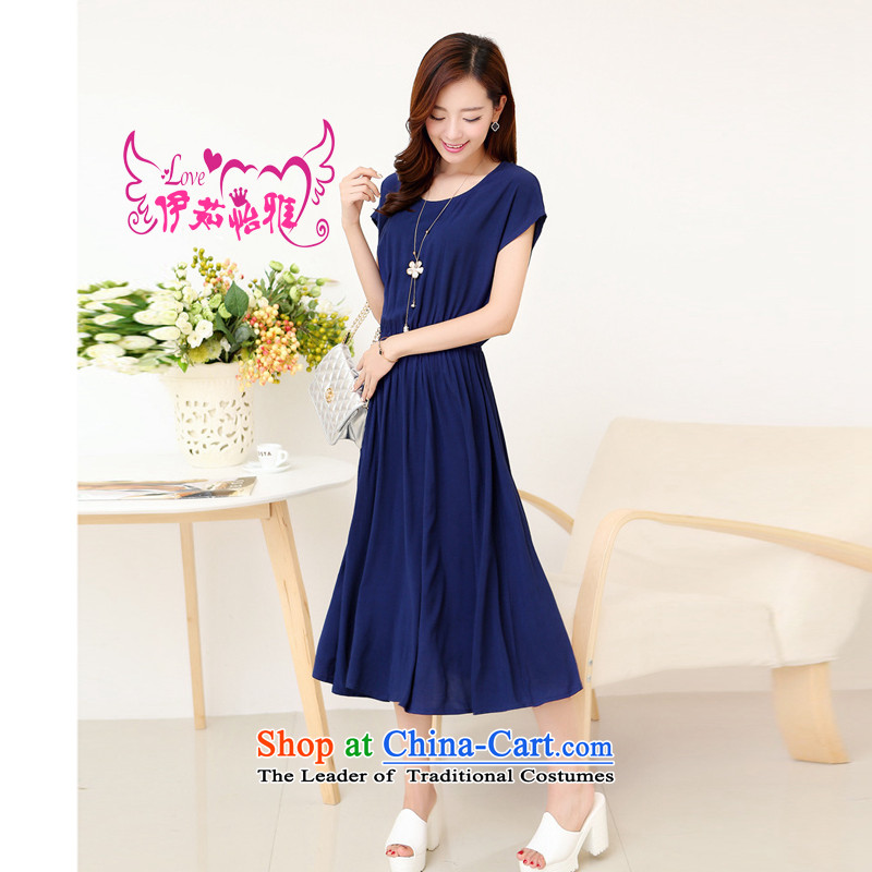 El-ju Yee Nga thick sister new summer fashion to intensify the long large female dresses YJ91381 Blue燤