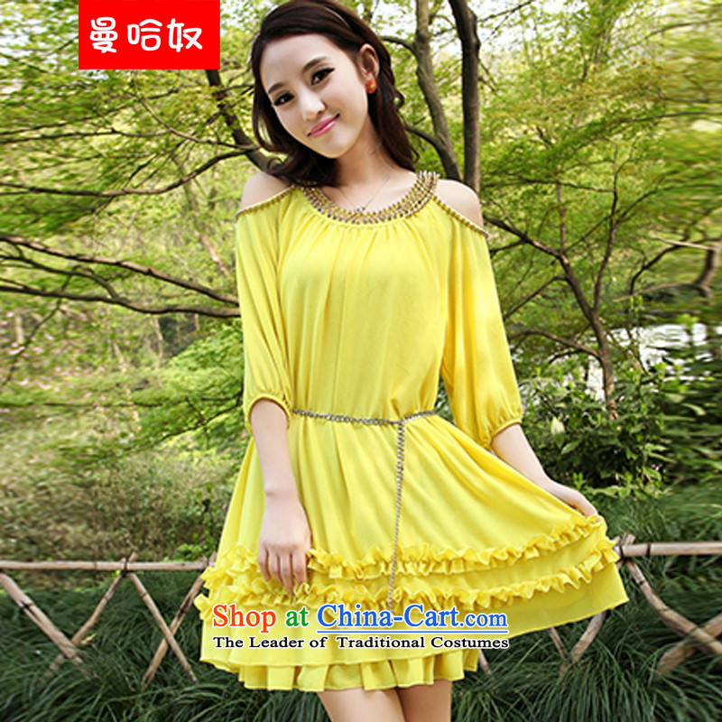 Manhattan for summer 2015 slavery new women's thick mm Korean loose to increase women's code chiffon short-sleeved dresses yellow to belt燲XL 160-180 catty