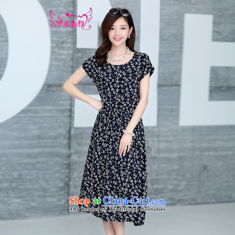 El-ju Yee Nga thick, Hin thin summer larger 4XL women in large long cotton dress YJ91381 small mahogany XXXXL