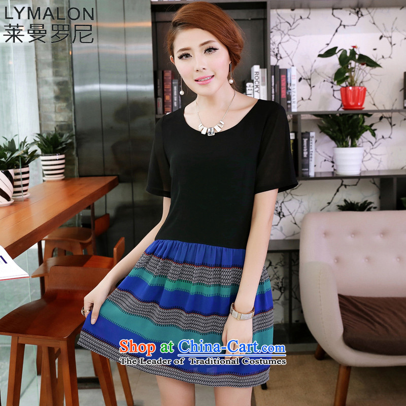 The lymalon lehmann thick, Hin thin 2015 Summer new Korean version of large numbers of ethnic women short-sleeved chiffon A skirt picture color燲XXXL 2653