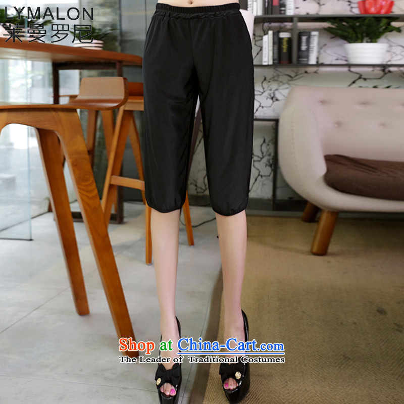 The lymalon2015 lehmann summer new Korean version of large numbers of ladies casual relaxd stylish outside Sau San through forming the Capri燲XXL 9036 Black